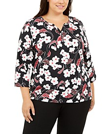 Plus Size Glitter Vines Henley Top, Created For Macy's
