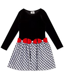 Little Girls Velvet Drop-Waist Bow Dress