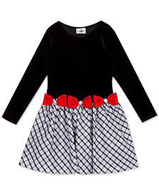 Rare Editions Little Girls Velvet Drop-Waist Bow Dress