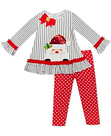 Little Girls 2-Pc. Santa Top & Printed Leggings Set