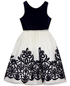 Big Girls Embellished Velvet Dress