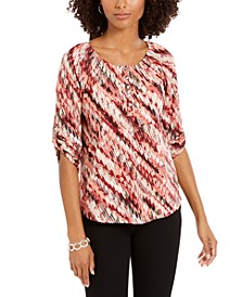 Petite Printed Roll-Tab-Sleeve Peasant Top