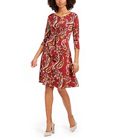 Petite Printed Twisted Zip-Neck Dress