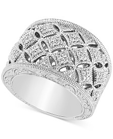 Diamond Openwork Statement Ring (1/5 ct. t.w.) in Sterling Silver