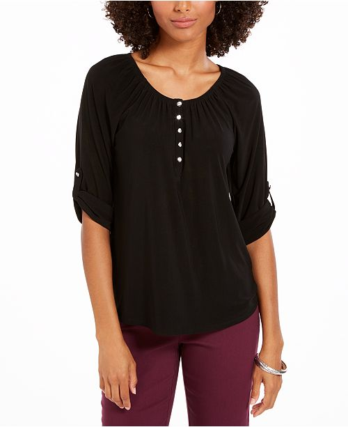 NY Collection Petite Roll-Tab-Sleeve Peasant Top