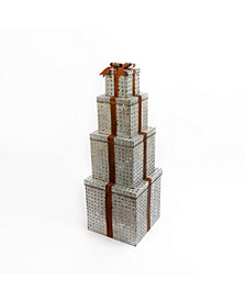 55-Inch-Tall Battery Operated, Lighted Metal Stacking Gift Boxes with Timer