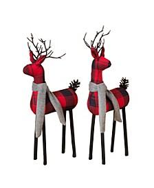 Plaid Standing Deer Figurines - Set of 2