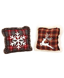 Plush, Plaid Holiday Pillows with Snowflake and Reindeer Designs - Set of 2