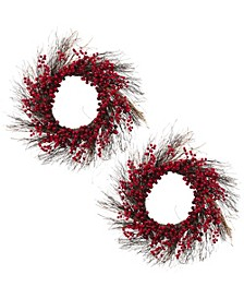 Natural Brown Twig Holiday Wreath with Red and Purple Berries - Set of 2