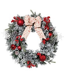 Accented Flocked Pine Wreath with Short/Long Needles, Berries and Ornaments