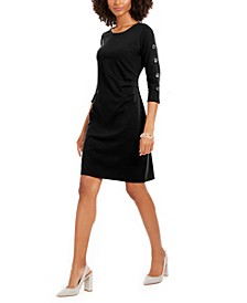 Petite Ruched 3/4-Sleeve Sheath Dress