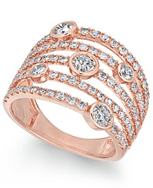 Diamond Bezel Multi-Row Statement Ring (1-1/2 ct. t.w.) in 14k Rose Gold