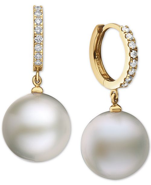 EFFY Collection EFFY® Cultured Freshwater Pearl (15mm) & Diamond (3/8 ct. t.w.) in 14k Gold