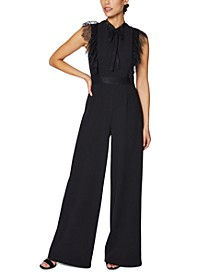 Petite Eyelash Lace-Trim Wide-Leg Jumpsuit