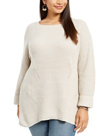 Style & Co Plus Size Pointelle-Trim Sweater, Created For Macy's