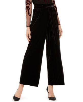 INC Velvet Wide-Leg Paperbag Pants, Created For Macy's