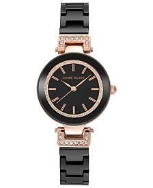 Anne Klein Women's Black Ceramic Bracelet Watch 30mm