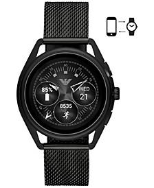 Men's Black Stainless Steel Mesh Bracelet Touchscreen Smart Watch 43mm