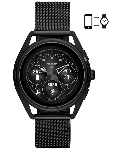 Emporio Armani Men's Black Stainless Steel Mesh Bracelet Touchscreen Smart Watch 43mm