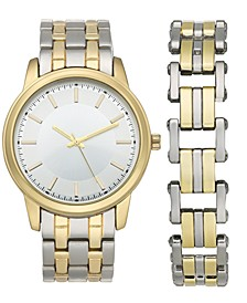 INC Men's Two-Tone Bracelet Watch 42mm & Matching Bracelet Set, Created for Macy's