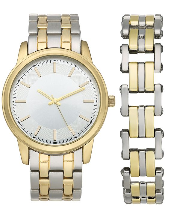 INC International Concepts INC Men's Two-Tone Bracelet Watch 42mm & Matching Bracelet Set, Created for Macy's