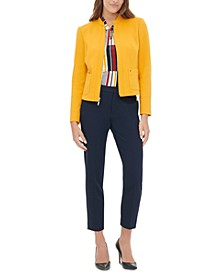 Zippered Blazer, Printed Blouse & Ankle Pants