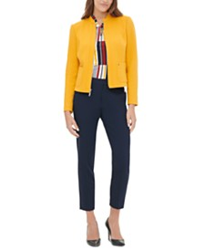 Tommy Hilfiger Zippered Blazer, Printed Blouse & Ankle Pants