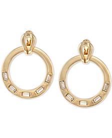 Gold-Tone Crystal Doorknocker Drop Earrings