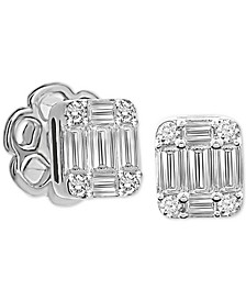 Diamond Baguette Cluster Stud Earrings (1/3 ct. t.w.) in 14k White Gold