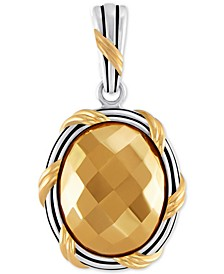 Two-Tone Oval Pendant in Sterling Silver & Gold-Plate