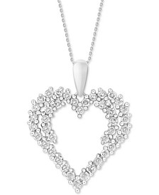 "Diamond Cluster 18"" Pendant Necklace (3/4 ct. t.w.) in 14k White Gold"