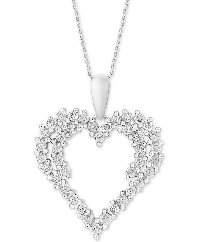 """Macy's Diamond Cluster 18"""" Pendant Necklace (3/4 ct. t.w.) in 14k White Gold"""
