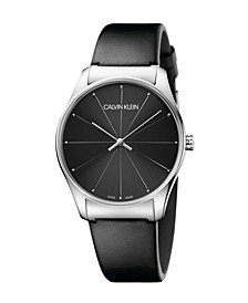 Unisex Classic Too Black Leather Strap Watch 38mm