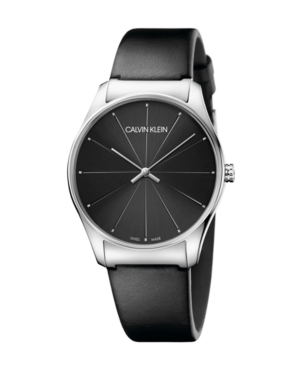 Calvin Klein Watches UNISEX CLASSIC TOO BLACK LEATHER STRAP WATCH 38MM