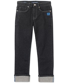 Big Boys Slim-Straight Fit Stretch Logo Cuff Jeans