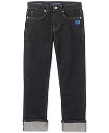 Big Boys Slim-Straight Fit Stretch Logo Cuff Jeans
