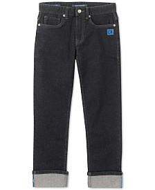 Calvin Klein Jeans Big Boys Slim-Straight Fit Stretch Logo Cuff Jeans