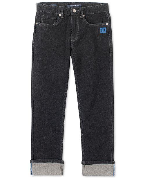 Calvin Klein Big Boys Slim-Straight Fit Stretch Logo Cuff Jeans
