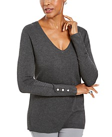 Button-Cuff V-Neck Pullover Sweater, Created for Macy's