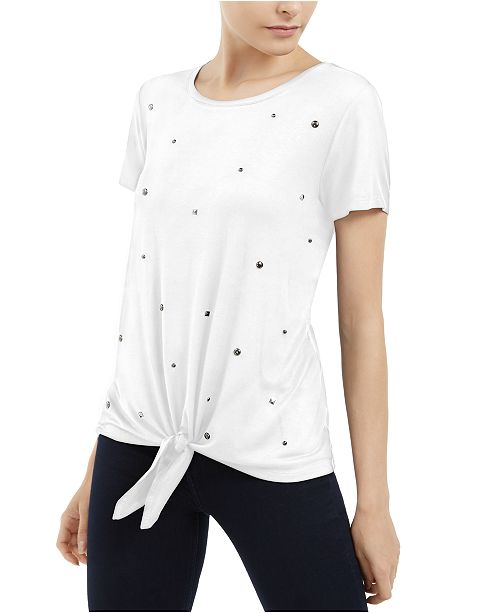 INC International Concepts I.N.C. Embellished Tie-Front T-Shirt, Created For Macy's