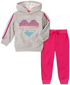 Little Girls 2-Pc. Heart Hoodie & Jogger Pants Set
