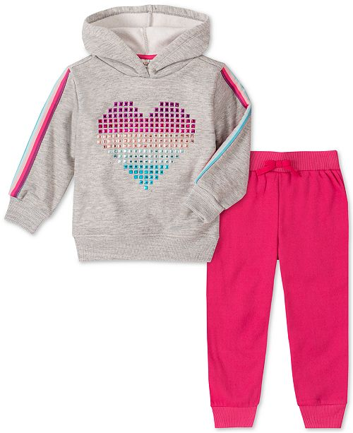 Kids Headquarters Toddler Girls 2-Pc. Heart Hoodie & Jogger Pants Set