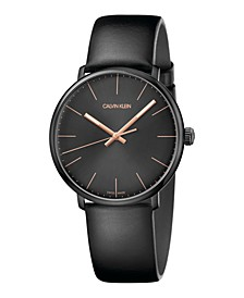 Unisex High Noon Black Leather Strap Watch 40mm