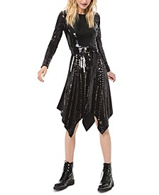 Sequin-Trim Handkerchief-Hem Dress