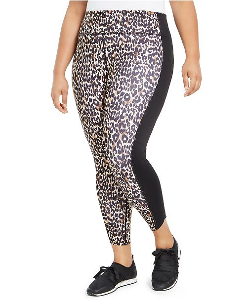 Ideology Plus Size Leopard-Print Leggings, Created For Macy's