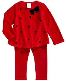First Impressions Baby Girls Velour Dot-Print Top & Leggings, Created For Macy's