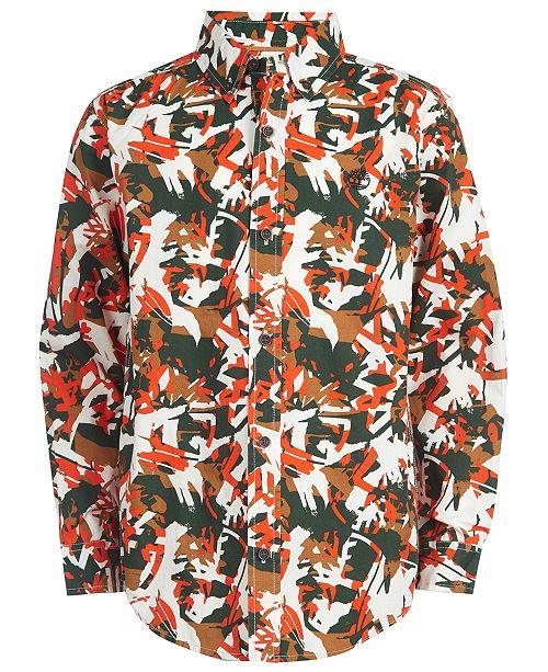 Timberland Big Boys Eaton Dark Green Camouflage Logo-Print Shirt