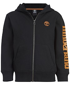 Timberland Big Boys Hayes Black Full-Zip Fleece Logo Hoodie