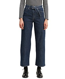 Women's Mile High Belted Cropped Wide-Leg Jeans