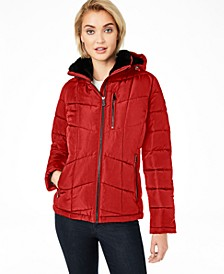 Faux-Fur-Lined Hooded Puffer Coat, Created For Macy's